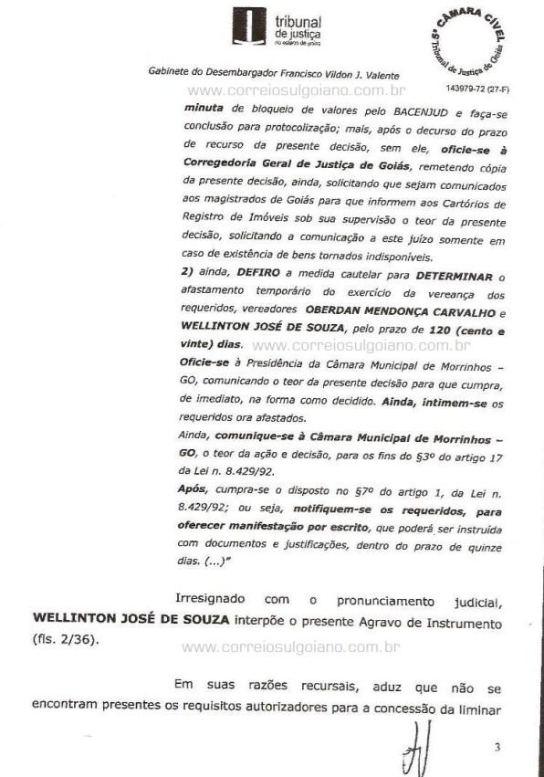 Página 03 do Relatório e Voto dos desembargadores do TJ/GO