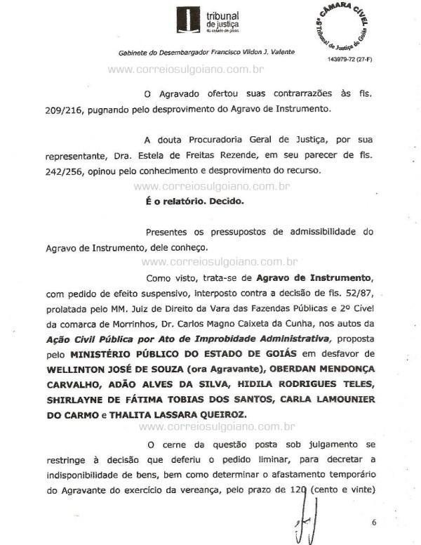 Página 06 do Relatório e Voto dos desembargadores do TJ/GO