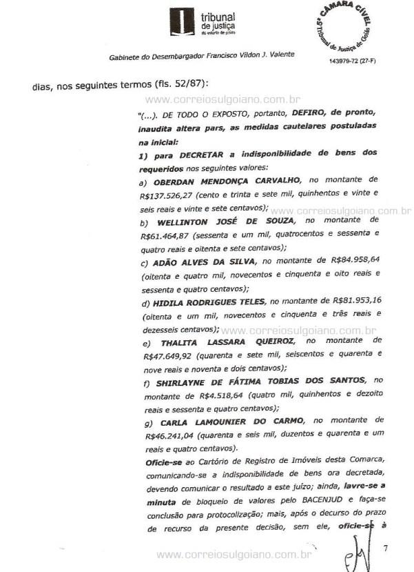 Página 07 do Relatório e Voto dos desembargadores do TJ/GO