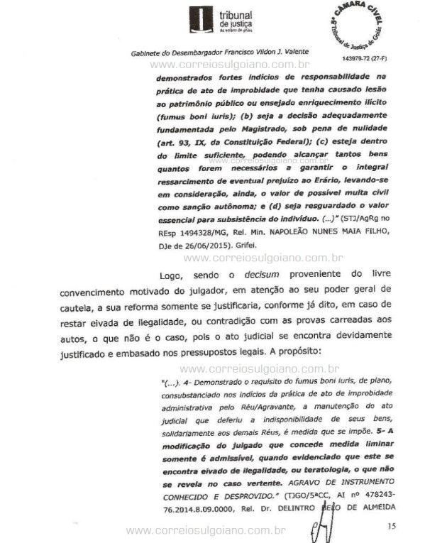 Página 15 do Relatório e Voto dos desembargadores do TJ/GO