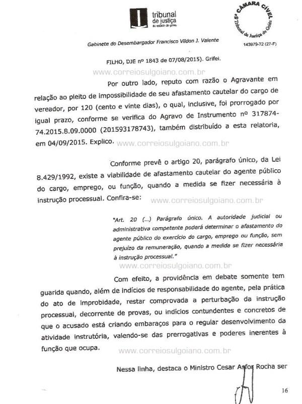 Página 16 do Relatório e Voto dos desembargadores do TJ/GO