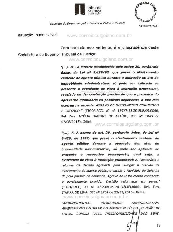 Página 18 do Relatório e Voto dos desembargadores do TJ/GO