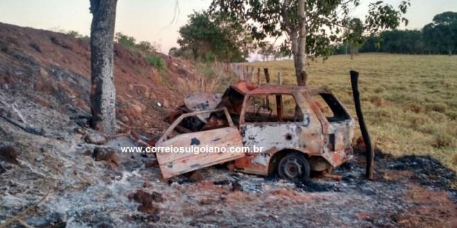 Condutor morre carbonizado em Pontalina. Após acidente carro pegou fogo. Corpo ainda não foi identificado!
