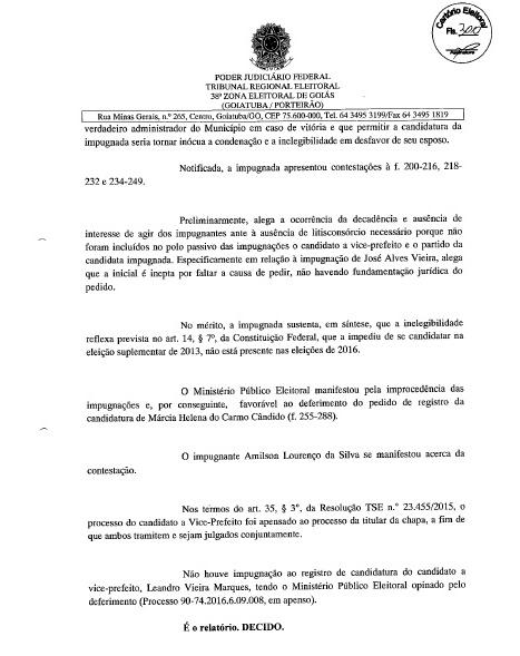 MÁRCIA PODE SER CANDIDATA: FOLHA Nº 300 DA DECISÃO JUDICIAL