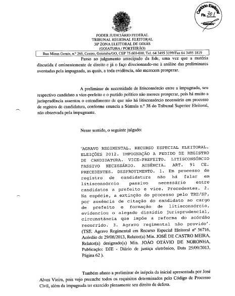 MÁRCIA PODE SER CANDIDATA: FOLHA Nº 301 DA DECISÃO JUDICIAL