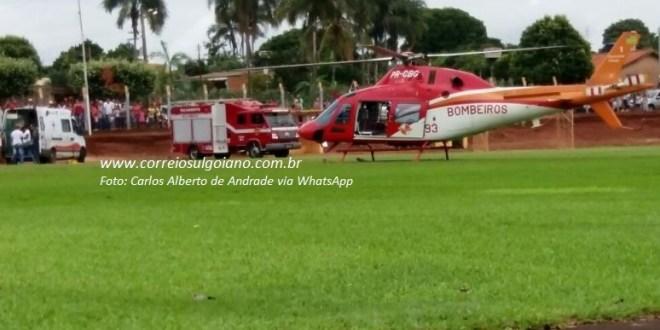 Menino de 8 anos é atropelado em Goiatuba. Com suspeita de TCE foi transferido ao HUGOL via helicóptero dos Bombeiros