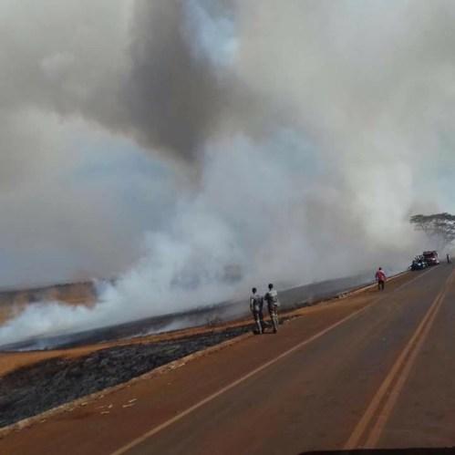 Fogo provocou muita fumaça
