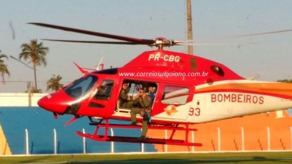 Aeronave decola levando paciewnte ferido