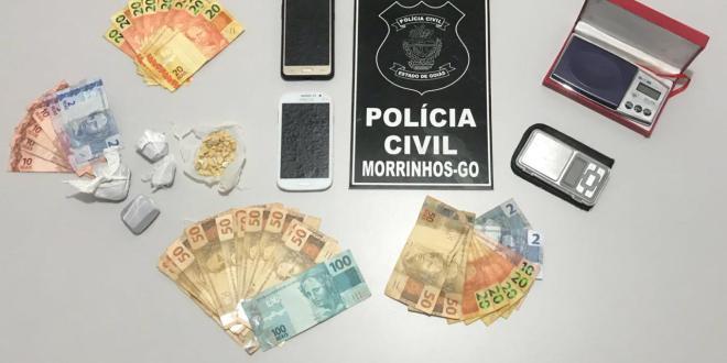 Polícia prende suspeito de tráfico de drogas em Morrinhos e apreende entorpecentes durante flagrante