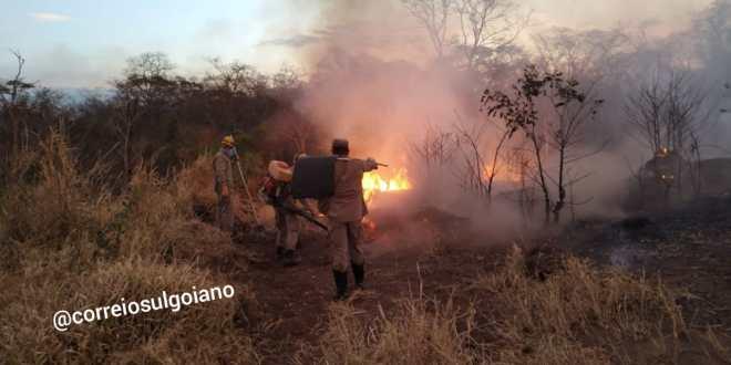 FOGO NO SÃO DOMINGOS: Grande parte da reserva ambiental foi atingida pelas chamas neste domingo
