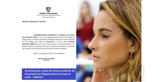 MERECIMENTO: Tribunal de Justiça de Goiás remove juíza Patrícia Machado Carrijo de Morrinhos para Anápolis