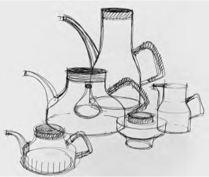 pg 100 - sketch of various designs for the Heal's silverware collection