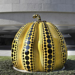 Yayoi Kusama Pumpkin, 2016, at the Hirshhorn Museum and Sculpture Garden. Courtesy of Ota Fine Arts, Tokyo/Singapore. © Yayoi Kusama. Photo by Cathy Carver.