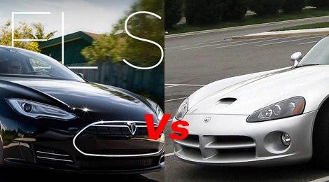 Tesla Modello S Vs Dodge Viper
