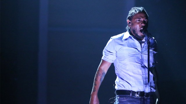 Kendrick Lamar performs at the 58th annual Grammy Awards on Monday, Feb. 15, 2016, in Los Angeles. (Photo by Matt Sayles/Invision/AP)