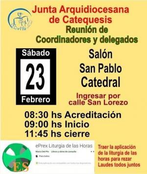 SÁBADO 23: Reunión de delegados y coordinadores de Catequesis