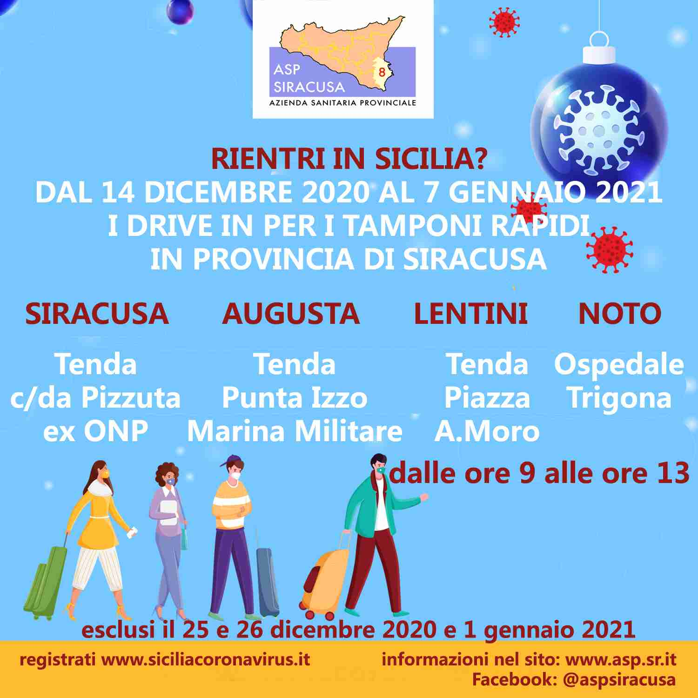 Rientro in Sicilia per Natale, 4 drive in a Siracusa per i tamponi rapidi »  Corriere Elorino