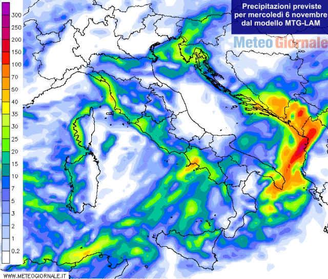 immagine 2 articolo previsioni meteo 6 novembre piogge verso il sud