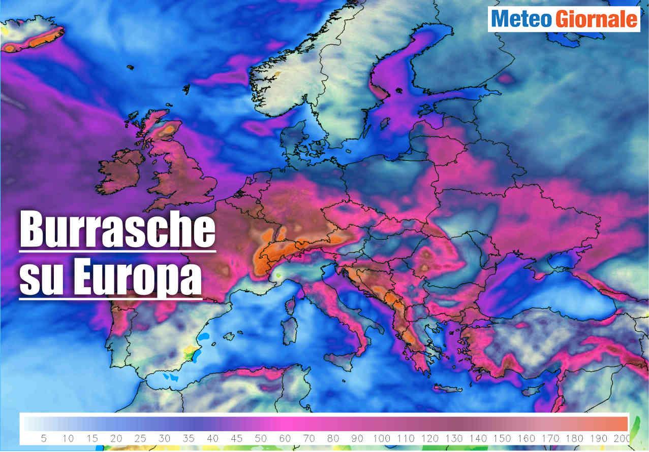Mappa precipitazioni sino 10 febbraio 2021. In violetto le aree con maggior maltempo.