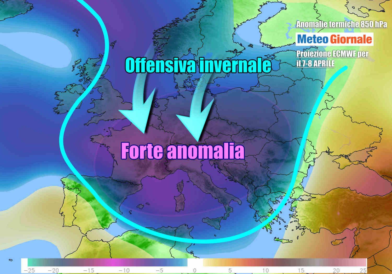 Italia colpita in pieno dall'intensa irruzione artica post Pasquetta