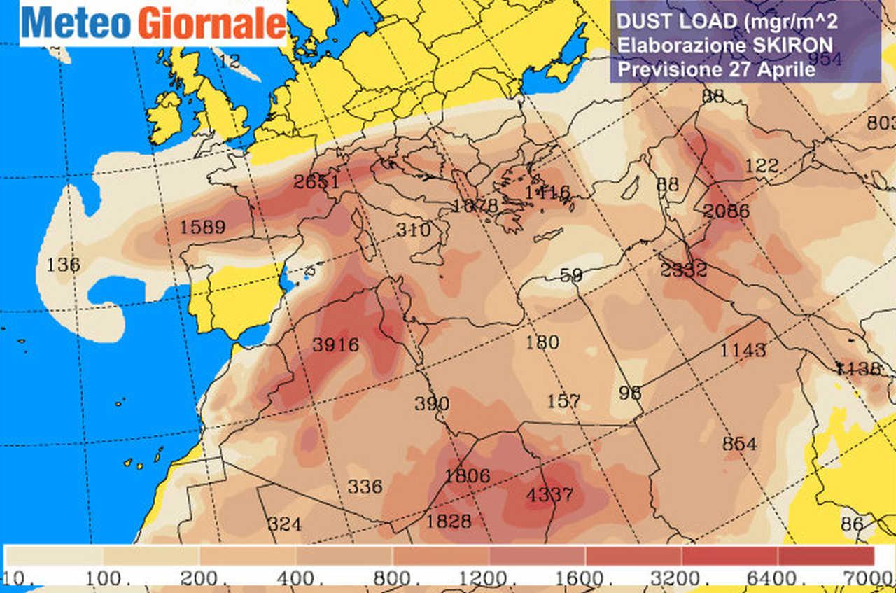 Concentrazione pulviscolo attesa nella notte tra lunedì 26 e martedì 27. Fonte mappa University of Athens