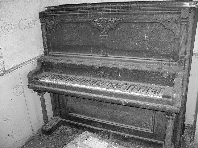 An old piano in an abandoned one-room schoolhouse in southeastern Nebraska
