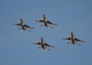 Four Thunderbirds soaring over Tucson