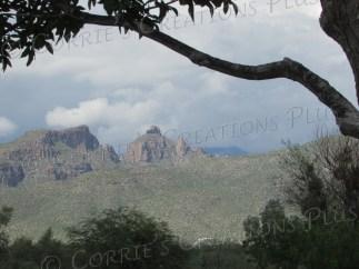 Thimble Peak is visible from McDonald Park in Tucson, Arizona.
