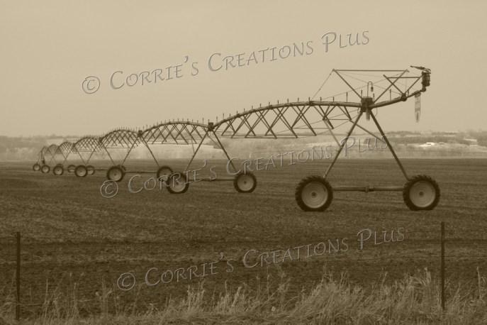Sepia version of center-point irrigation in southeastern Nebraska