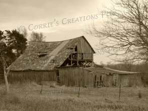 A sepia version of an abandoned building in southeastern Nebraska