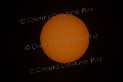 Notice the sunspots near the center of the photo; taken in southeastern Nebraska
