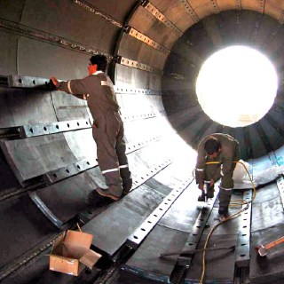 Corrosion Engineering installing drum lining systems at the Largest Copper Mine in the World.