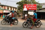 A banner erected in support of Aung San Suu Kyi