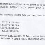 RANARISON Tsilavo accuse Solo d'avoir effectuer des virements illicites pour 1.047.060 euros
