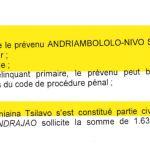 RAMBELO Volatsinana il résulte preuve suffisante comme motivation pour condamner à 2 ans de perison
