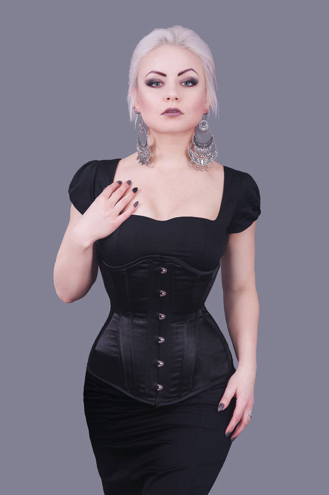 db5e2621a42 RebelMadness Rebel Madness Black Satin Longline Underbust Corset Poland