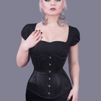 RebelMadness Rebel Madness Black Satin Longline Underbust Corset Poland