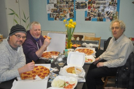 Martin, Chris and Stuart enjoying pizza