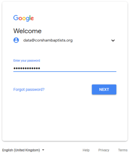 Screenshot of Google Drive sign in - Password