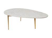 Kidney Bean Marble Coffee Table with Gold Leaf   Corso De ...