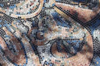 "Xavier Cortada, ""Flor (detail),"" stone mosaic, 2013"