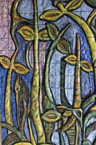 "Xavier Cortada, ""Mangroves (on Blue) detail,"" ceramic, 2014"