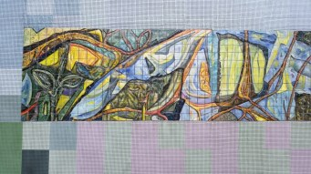 "Xavier Cortada, ""Mangrove Cove (detail),"" ceramic and glass mosaic, 2013"