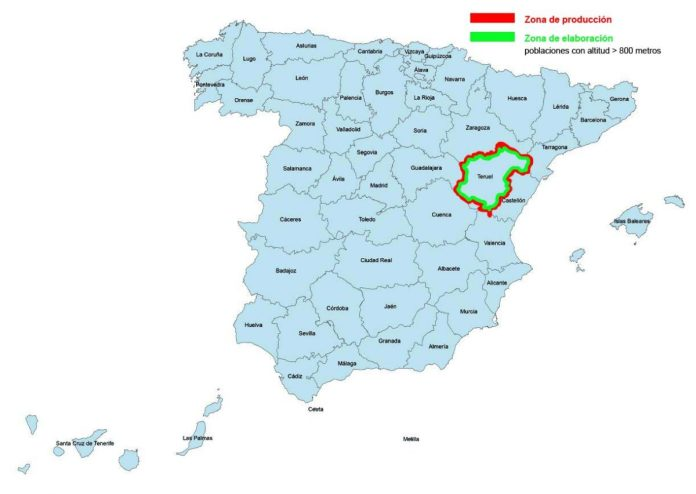 Provincias de la DOP Jamón de Teruel