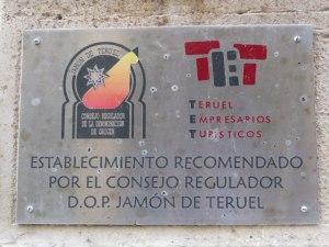 Establecimientos recomendados por el Consejo Regulador del Jamón de Teruel son