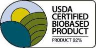 USDA CERTIFIED BIOBASED PRODUCT 92%