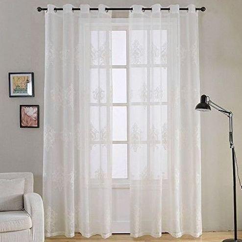 Modernas cortinas saln blancas con bordados  Cortinas de