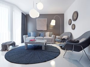 Color de cortinas para paredes grises Cortinas de salón modernas