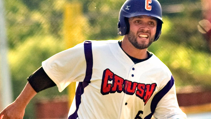 Cortland Crush's David Murphy reaches home on a bases-clearing double by Derek Martin in the first inning. Cortland was an 18-