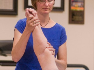 Susan Ives, a physical therapist assistant and athletic trainer, works the shoulder of a patient Friday at Goldwyn and Boyland Physical Therapy on Tompkins Street. With employment increasing in the leisure and hospitality fields, along with education and health services, the facility also foresees growth.